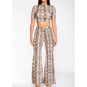 Other - Snakeskin Cropped Top Set